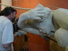 work on the sculpture.