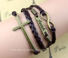 Bronze infinity and belief in the holy cross charm by braceletshow, $3.99
