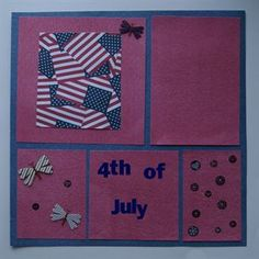 Handmade Traditional Scrapbook Page Layout 4th of July www.icanscrap4u.com