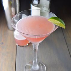 A classic cosmo with vodka, lime juice, triple sec, and cranberry juice.