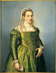 """Might be cartridge pleats with the string pulled out? Rome LAZIO: """"Portrait of Vittoria Colonna"""" (allegedly), Bartolomeo Cancellieri. In the Palazzo Colonna in Rome. Costume Renaissance, Mode Renaissance, Renaissance Portraits, Renaissance Fashion, Renaissance Clothing, Italian Renaissance, Tudor Fashion, Italian Fashion, Historical Costume"""