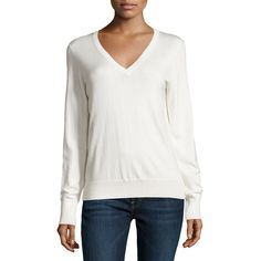 Equipment Cecile Long-Sleeve V-Neck Sweater ($90) ❤ liked on Polyvore featuring tops, sweaters, ivory, white sweater, white top, v neck pullover, winter white sweater and equipment sweaters