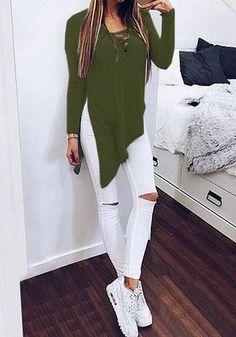 Army Green Plain Irregular Long Sleeve Streetwear Cotton T-Shirt