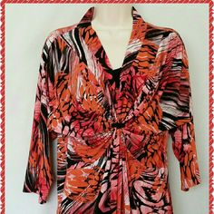 NOTATIONS stretch 3/4 sleeve top large EUC NOTATIONS large orange black multicolor abstract design stretch top. Excellent used condition. Black faux tank inset at neckline. Cinched and gathered in the center below the bust. 96% polyester 4% spandex for a good stretch. Machine wash cold tumble dry low. Smoke free pet friendly home. One business day shipping. All items are carefully inspected prior to listing. Notations Tops Tunics
