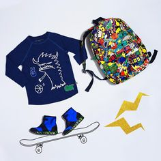 Skate into style with monster print jumpers and sticker print backpacks! Shop on #StellaMcCartney.com #StellaMcCartneyKids #StellaKids