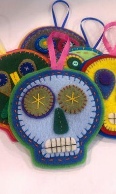 Sugar Skull Felt Ornament, Day of the Dead