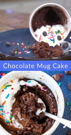 Best Chocolate Mug Cake Recipe, Desserts With Chocolate Chips, Chocolate Mug Cakes, Chocolate Chip Cookies, Recipe Videos, Food Videos, Easy Cake Recipes, Corner, Mugs