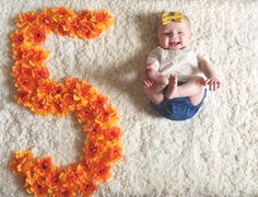Floral numbers - baby monthly photo.