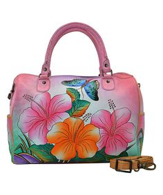 Anna by Anuschka Hawaiian Hibiscus U-Strap Hand-Painted Leather Satchel | zulily