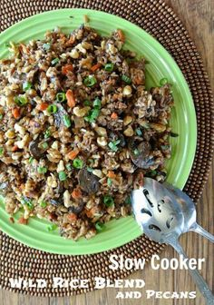Slow Cooker Wild Rice Blend with Pecans (Every Recipe You Need For A Thanksgiving Feast!) - Grains, nuts, and veggies combined in the slow cooker make a special side dish.