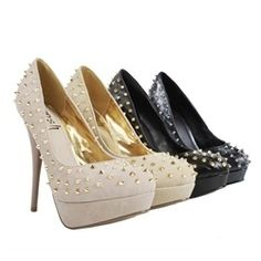 Posh Whip Blush Studded Spike Round Toe Platform Pumps and Womens Fashion Clothing & Shoes - Make Me Chic - StyleSays