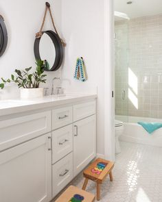 This Jack and Jill bathroom has a great layout and beautiful hex floor tiles