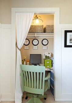 Closet turned into Home Office - Creative use of space, tention rod with curtain used in place of door.