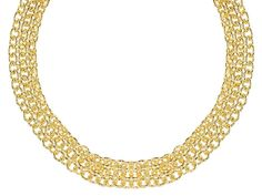 This cable link necklace would go great with any fashionistas city style look- Moda Al Massimo(Tm) 18k Yellow Gold Over Bronze 3 Row Cable Link 18 Inch Necklace