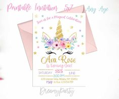 Unicorn Birthday Invitation, Unicorn First Birthday, Floral Unicorn Invitation, Rainbow Unicorn, Floral Invitation, Printable UF201 by DreamyPartyPrintable on Etsy https://www.etsy.com/listing/558748632/unicorn-birthday-invitation-unicorn