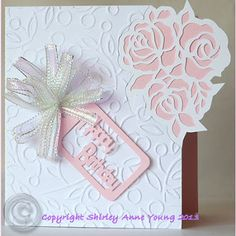 Shirley's Cards: Rose Cutout Freebie Card - beautiful digitally cut roses on the side of the card Scrapbook Birthday Cards, Cricut Birthday Cards, Free Birthday Card, Cricut Cards, Free Mothers Day Cards, Mothers Day Crafts, Kirigami, Pop Up Cards, Flower Cards
