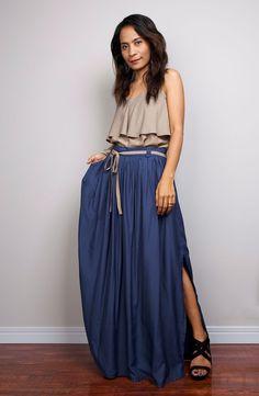 Floor Length Skirt / Navy Blue Skirt  Long Cotton Maxi by Nuichan, $55.00