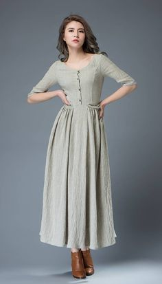 Gray linen dress maxi dress women dress C815 by YL1dress on Etsy (I'd be up for this in summer...a slightly  different shade of green)