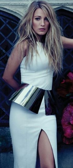 Blake Lively in white and metallic