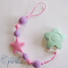 Silicone Pacifier clip - Twinkle Flower Olive www.bebeperla.com