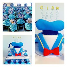 Donald duck cake and cupcakes www.facebook.com/myglorioustreats