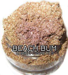 Beach Bum SAMPLE SIZE Mini Jar Sandy Taupe Gold Shimmer Mineral Eyeshadow Mica Pigment Lumikki Cosmetics