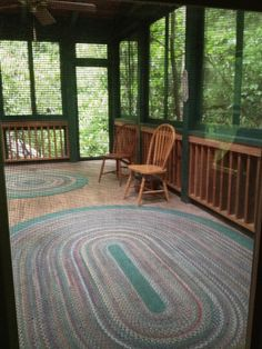 Braided rugs, screened in porches, can hear the screen door slam...