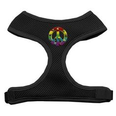 Rainbow Peace Sign Chipper Black Harness Medium