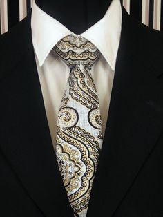 Mens Necktie, Mens Tie, Grey Necktie, Grey Tie, Black Necktie, Black Tie, Gold Necktie, Gold Tie, Paisley Necktie, Paisley Tie, Floral Tie by EdsNeckties on Etsy