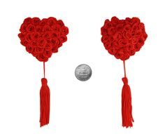 Pasties Nipple Cover Red Rose Heart PerkyPasties PP055R by PerkyPasties on Etsy