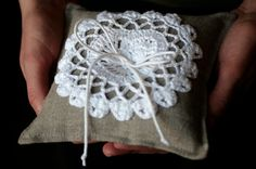 Ring Bearer Pillow <3 - Match lace to lace and burlap in brides bouquet