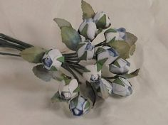 Small Cabbage Rose Buds Light Blue Parchment by MyCottageHeart