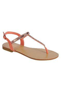 7cc410eedd53 Bamboo Josalyn-07 Flat Sandals in Melon Flat Sandals