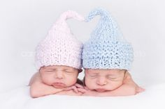 2 Knitted Kiss Elf Hats for Twin Babies, Coming Home from the Hospital, Pink or Blue Shimmer Yarn, Photography Prop. $40.00, via Etsy.