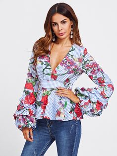 Cheap blouse blue, Buy Quality long sleeve blouse directly from China floral blouse Suppliers: SHEIN Mixed Print Plunging Peplum Top Autumn Long Sleeve Blouse Blue Plaid V Neck Puff Sleeve Zipper Back Floral Blouse Hijab Fashion, Fashion Clothes, Fashion Outfits, Fashion Top, Fashion Spring, Mélanger Les Impressions, Coats For Women, Clothes For Women, Mixing Prints