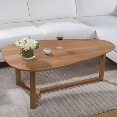 Yidai Home White Oak Coffee Table Oval Creative Minimalist Wood Furniture Small Apartment Sofa