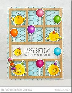 Stamps: BB Birthday Chicks, Honeycomb Background  Die-namics: BB Birthday Chicks, Collage Cover-Up    Barbara Anders  #mftstamps
