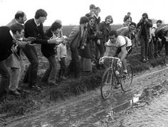 1981 Paris Roubaix - World champion, Bernard Hinault, races through the muck.