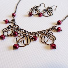 Wire Work Necklace Set  Red Wine Freshwater Pearls