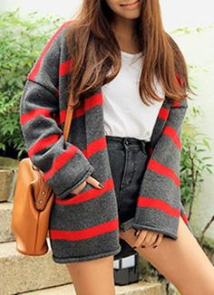 Sweet Style Collarless Long Sleeve Striped Loose-Fitting Cardigan For Women