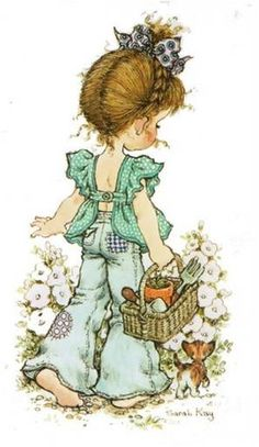 28 Ideas for basket illustration sarah kay Sarah Key, Holly Hobbie, Papier Kind, Hobby Horse, Australian Artists, Illustrations, Cute Illustration, Vintage Cards, Vintage Children