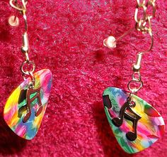 Guitar Pick Earrings Tie Dye Dangle Music by GuitarPickFashion, $4.99