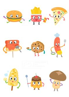 SILL188, 푸드캐릭터, 캐릭터, 푸드, 음식, 요리, 벡터, 에프지아이, 스티커, 햄버거, 감자튀김, 피자, 떡꼬치, 쿠키, 소세지, 옥수수, 푸딩, 버섯, 정크푸드,…