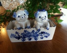 Vintage DELFTS BLUE Pigs in a Trough Salt and Pepper Shakers on Etsy, $40.00