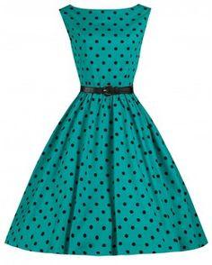 Audrey klänning turkos polka
