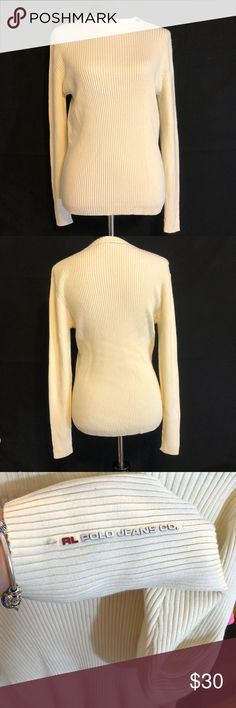 90s polo jeans co mock neck sweater 90s polo jeans co mock neck, Ivory yellow color, size medium, excellent condition, knock turtleneck, logo on neck and arm, bust measures at 16 inches when laid flat and measured straight across and the length is 26 inches. 100% cotton, ribbed and medium weight Polo by Ralph Lauren Sweaters