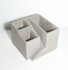 Architectural Plant Cement Cube Planter 3 by Vagabond Vintage