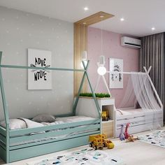 Perfect Bedroom For Kids - toddler room ideas Kids Bedroom Designs, Baby Room Design, Baby Room Decor, Boy Decor, Bedroom Ideas, Boy And Girl Shared Room, Boy Girl Room, Girl Rooms, Child Room