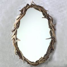 Oval Whitetail Antler Mirror | Cabin & Hunting Decor | Antler Decor