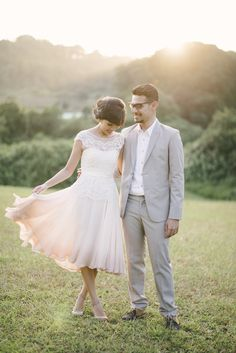 Chic anniversary shoot with pink ombre dress // Sparks Fly: Elegant Anniversary Picnic at Hort Park